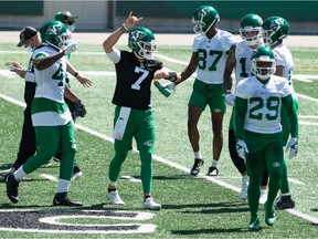 Quarterback Cody Fajardo, 7, enjoys being in the centre of the action at the Saskatchewan Roughriders' training camp.