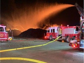 Regina Fire & Protective Services were called to a scrap pile fire at Wheat City Metals at 2881 Pasqua Street North on Tuesday night. (Photo courtesy Regina Fire & Protective Services)
