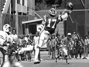 Saskatchewan Roughriders receiver Joey Walters makes a spectacular one-handed catch for a touchdown against the B.C. Lions in 1982.