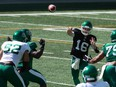 Saskatchewan Roughriders quarterback Isaac Harker, 16, throws a pass during Saturday's controlled scrimmage at Mosaic Stadium. Harker is hoping to retain the No. 2 job he held in 2019.