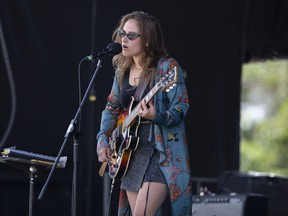 Ava Wild performs at the Regina Folk Festival's first drive-in concert at the Conexus Arts Centre in Regina on Aug. 14, 2020.