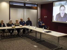 Othram CEO David Mittelman, on screen right, speaks at a press conference about the DNA technology and genealogical research used to help identify Michael Kirov. At left are the three cousins of Kirov the search eventually pinpointed.