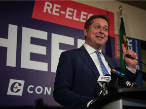 Conservative Party of Canada Regina—Qu'Appelle candidate Andrew Scheer addresses the media about results from the Canadian federal election at a space inside the Ramada Hotel in Regina, Saskatchewan on Sept. 20, 2021.