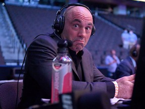 FILE: Announcer Joe Rogan reacts during UFC 249 at VyStar Veterans Memorial Arena on May 09, 2020 in Jacksonville, Fla. /