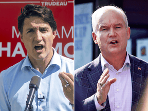 Liberal Leader Justin Trudeau and Conservative Leader Erin O'Toole. When asked who appeared angry during the campaign, 37 per cent of respondents said Trudeau, while only 20 per cent said O'Toole.