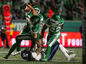 Saskatchewan Roughriders receiver Kian Schaffer-Baker carries the ball over the goal line to complete a highlight-reel, 24-yard touchdown — his first major in the CFL — on Friday night versus the Toronto Argonauts.