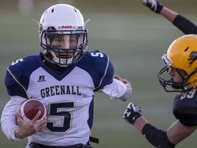 Balgonie Greenall Griffins quarterback Zachery Kuculym excelled along the ground and through the air in Thursday's 23-0 victory over the Martin-Luther Kings.