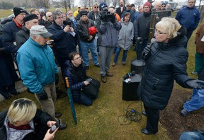 MORRIS LAMONT/THE LONDON FREE PRESS MPP Peggy Sattler (NDP – London West) speaks to supporters of the Cardiac Fitness Institute assembled in front of Victoria Hospital Friday. Sattler said shortchanging cardiac rehabilitation will harm patients and cost the health-care system more in the long run. (MORRIS LAMONT, The London Free Press)