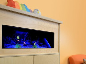 Dimplex offers a virtual aquarium featuring ultra-realistic fish swimming in a tropical environment complete with the sound of bubbling water.