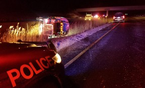 A collision between a minivan and a tractor trailer loaded with propane closed Highway 402 east of Longwoods Road and sent one person to hospital with serious injuries. (Courtesy OPP)