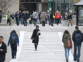 Students move about on the Western University campus in this file photo. (Free Press files)
