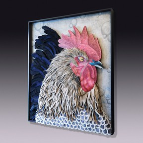 This Silver Penciled Rock Rooster artwork was made by Sundie and Brad Ruppert at their Des Moines, Iowa, studio. The mixed-media art includes hat maker's felt remnants, metal flashing and carved wood. (Sundie Ruppert/via AP)