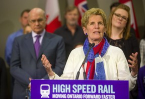 Ontario Premier Kathleen Wynne was in London's Info-Tech on Friday April 6 to commit to spending over $11 billion on the first phase of high-speed rail.  (Mike Hensen/The London Free Press)