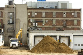 Soil remediation has begun at the McCormick plant on Dundas Street in London. (MIKE HENSEN, The London Free Press)