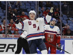 U.S. forward Brady Tkachuk (7) celebrates a goal during the second period in the bronze-medal game of the World Junior Hockey Championships against the Czech Republic, Friday, Jan. 5, 2018, in Buffalo, N.Y.