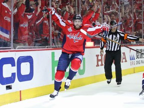 Evgeny Kuznetsov of the Capitals celebrates his second-period goal against the Vegas Golden Knights in Game 3 of the Stanley Cup Final at Capital One Arena in Washington on Saturday night.