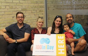 Titus Ferguson (left), Starr Meloche, Kara Rijnen, Freya Rajani and Heenal Rajani say they're ready for this year's 100In1Day event and are preparing for a full day of activities. (SHALU MEHTA/THE LONDON FREE PRESS)
