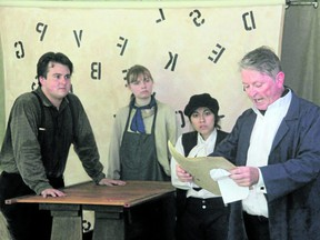 Shaun Hessey plays Alec, Kydra Ryan is the Journeyman, Patricia Tiemi is Charley French and Chris McAuley is the future rebel William Lyon Mackenzie in the Boy With an R in His Hand. Here, Mackenzie reads an article attacking the Family Compact to the apprentices in his printing shop.