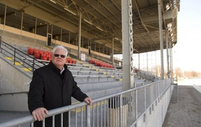 Hugh Mitchell the CEO of the Western Fair District looks out at their well known racetrack on Wednesday, February 28, 2018. (Mike Hensen/The London Free Press)