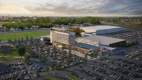 An artist's drawing depicts a hotel and casino at Western Fair, part of a conditional proposal by Gateway Casinos and Entertainment. (Supplied)
