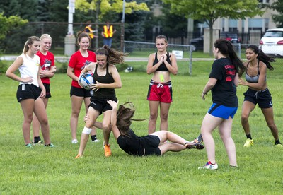 The Southwest Warriors rugby team practices in advance of the 2018 Ontario Summer Games beginning Friday  in London. (Derek Ruttan/The London Free Press)