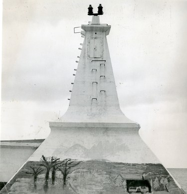 An unknown artist doubed this scene at the base of the Port Stanley lighthouse, 1967.  (London Free Press files)
