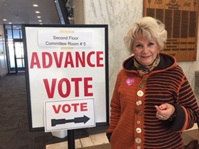 Eva Bartsch voted in the advance poll at city hall Saturday. HEATHER RIVERS/LONDON FREE PRESS