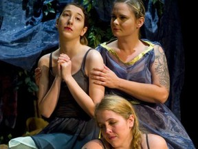 Clockwise from top left, Kathryn Griffiths Pintus, Jennifer Martino and Amanda Rey star in the London Community Players production of Iphigenia in Aulus at the Palace Theatre's Procunier Hall, 710 Dundas St., until Sunday. For ticket prices and show times visit the box office, go online to www.palacetheatre. ca, or call 519-432-1029.  Mike Hensen/The London Free Press)