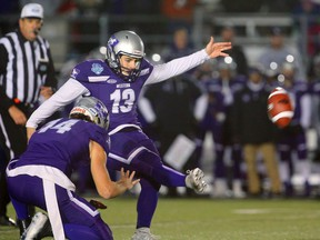 Western Mustangs' Marc Liegghio was an OUA first-team all-star at punter, but also a second-teamer as placekicker. (MIKE HENSEN, The London Free Press)