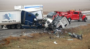 Non-life threatening injuries were only reported with the drivers of three tractor trailers involved a cross-median crash on Highway 401 near the Merlin Road overpass in Chatham-Kent, Ont. on Tuesday December 11, 2018. (Ellwood Shreve/Chatham Daily News)