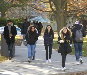 Western students head to class. (Mike Hensen/The London Free Press)