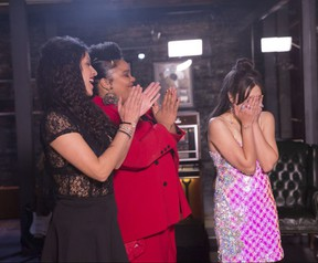 Saveria D'Ippolito reacts to finding out she won The Launch and the right to record and release the song as the other finalists, Lola Whyte and Chelsea D.E. Johnson of the duo Old Soul Rebel, congratulate her. (CTV photo)