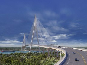 A concept drawing of a possible design for the Gordie Howe International Bridge.