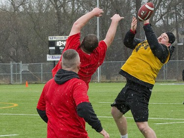Waterloo Warriors alumnus Cody Tapsell can't quite catch a pass while covered by Guelph Gryphon alumni Grant MacDonald and Adam Carapella, both of London, during the annual Alex Hebert Good Friday Bowl in London. The touch football tournament raises money for the Alex Hebert Mental Health Fund. (Derek Ruttan/The London Free Press)