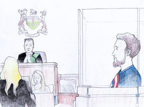 Samuel Waters, 22, of Jarvis, was released from custody after a brief court appearance on Wednesday. He was charged last week with commiting an indignity to a human body in connection with the grisly discovery of a body in a freezer found on a beach near Port Burwell. The Crown consented to his release. His defence lawyer, Kaley Hepburn, speaks to justice of the peace Gordon Chaput, while Waters, dressed in a Captain America t-shirt, looks on from the prisoner's box. (Charles Vincent/Special to Postmedia Network)
