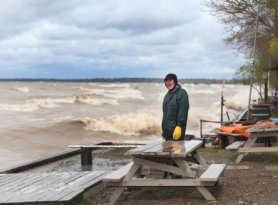LEAMINGTON, ONTARIO - MAY 2, 2017 -  Chris Jakob looks out to Lake Erie near his Point Pelee Drive  home during high winds and surf in Leamington, Ontario.   on May 2, 2017.  (JASON KRYK/Windsor Star) (SEE STORY ON FLOOD WARNING and GALE WARNING)