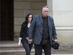 Craig Short and his daughter Bridgette Harding leave the Elgin County courthouse in St. Thomas on Monday, May 13 at the start of Short's third trial for the death of his wife Barbara Short. (Derek Ruttan/The London Free PresS)