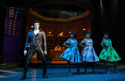 From left: Dan Chameroy as Orin, the Dentist, Starr Domingue as Crystal, Vanessa Sears as Ronnette and Camille Eanga-Selenge as Chiffon in Little Shop of Horrors.