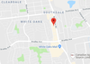 Google Maps: Red icon denotes the location of Montgomery Gate, a small side street that runs off Wellington Street just north of White Oaks Mall.