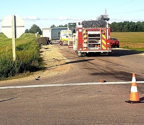 Firefighters, paramedics and area OPP officers were on the scene of a fatal crash northwest of Listowel.  Photo courtesy of West Region OPP Twitter