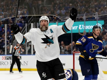 Joe Thornton #19 of the San Jose Sharks celebrates after scoring a goal on Jordan Binnington #50 of the St. Louis Blues during the first period in Game Three of the Western Conference Finals during the 2019 NHL Stanley Cup Playoffs at Enterprise Center on May 15, 2019 in St Louis, Missouri.