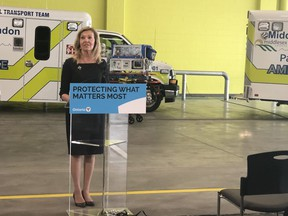 Ontario Health Minister Christine Elliott announced $6.8 million for five specially equipped ambulances to transport critically ill newborns at a press conference Thursday morning at the Middlesex-London Paramedic Service headquarters. One of the five ambulances will be stationed in London. (Jennifer Bieman/The London Free Press)