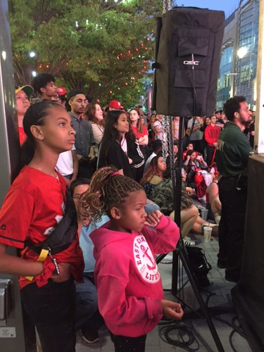 Londoners watch the Toronto Raptors-Golden State Warriors game on Friday, June 7, 2019 in downtown London. (Free Press staff)