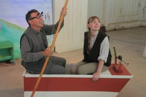 Dan Ebbs, left, is Mole, and Kydra Ryan is Ratty in The Wind in the Willows, an Alvego Root Theatre production. Not much happens in the languid playing, but the characters do go punting on the river (Photo by Richard Gilmore)