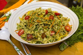 Carrot pesto pasta with summer squash (MIKE HENSEN, The London Free Press)