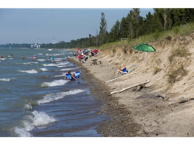 High water levels have swallowed almost all of the dog beach at Pinery Provincial Park on Wednesday. At some areas only two metres separate the water from the bank. (Derek Ruttan/The London Free Press)