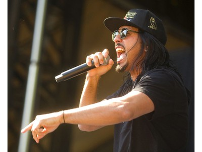 Leigh Kakaty, lead vocalist of the band Pop Evil, performs Thursday, July 11, 2019 at the Start.ca Rock the Park in Harris Park.  Mike Hensen/The London Free Press