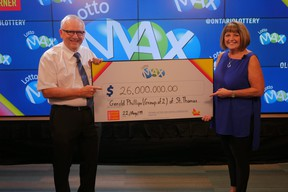 Gerry and Helen Phillips of St. Thomas win $26 million jackpot prize. (OLG Lottery photo)