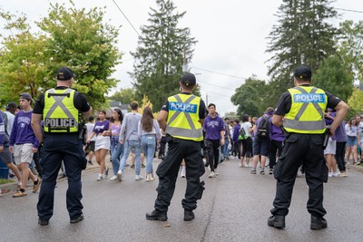 Students and young people take to Broughdale Avenue as part of the annual FOCO, or Fake Homecoming, celebrations on Saturday, Sept. 28, 2019. (MAX MARTIN, The London Free Press)