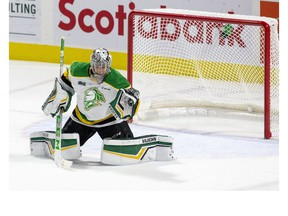 London Knights goalie Brett Brochu makes a glove save during the second period of his team's OHL hockey game against the Niagara Ice Dogs at Budweiser Gardens on Sunday Oct. 27, 2019. Derek Ruttan/The London Free Press